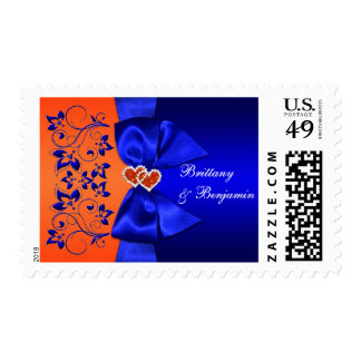 Blue, Orange Floral Wedding Postage