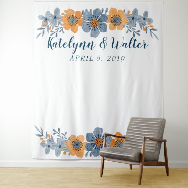 Blue & Orange Flower Wedding Photo Booth Backdrop