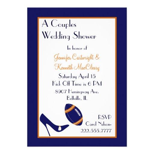 Blue & Orange Football Couples Wedding Shower Invitations
