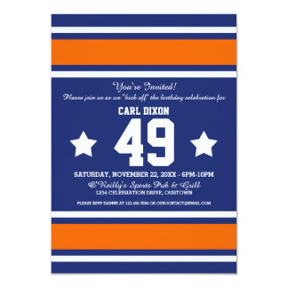 Blue Orange Football Jersey Stripes Card