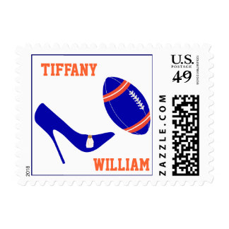 Blue & Orange Football Themed Stamps