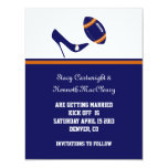 Blue & Orange Football Wedding Save The Date Card
