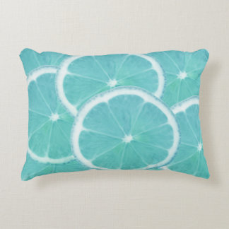 Blue orange fresh ice cold slices decorative pillow