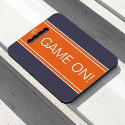 Blue Orange GAME ON Quote Monogram Stadium Sports Seat Cushion