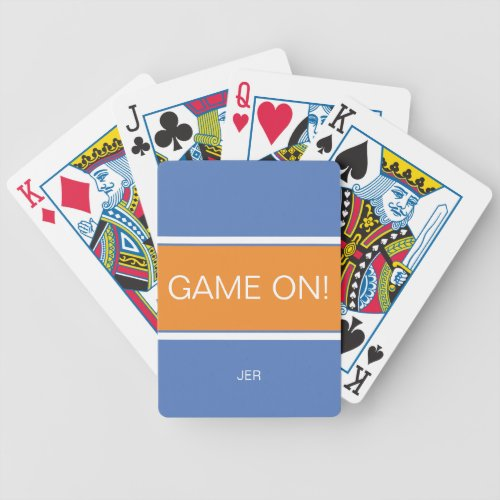 Blue  Orange GAME ON Quote Monogrammed Bicycle Playing Cards