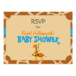 Blue & Orange Giraffe Safari Animal RSVP Postcard