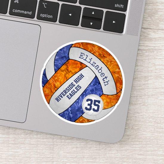 blue orange girls' volleyball w school mascot name sticker