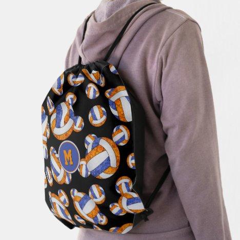 blue orange girly volleyball team colors drawstring bag