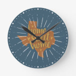 Blue, Orange, Gold Home Sweet Home – Texas Round Clock