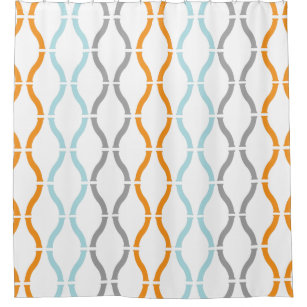 orange and gray shower curtain. Blue Orange  Gray Modern Geometric Funky Pattern Shower Curtain And Curtains Zazzle