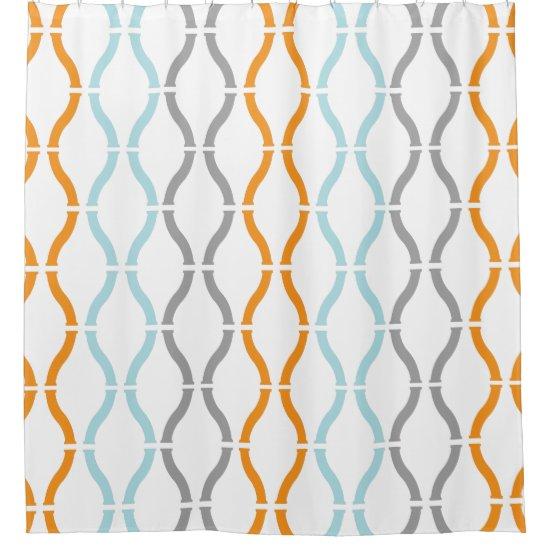 Blue Orange & Gray Modern Geometric Funky Pattern Shower Curtain