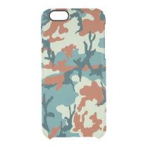 Blue/Orange/Greenish White Camo Clear iPhone 6/6S Case