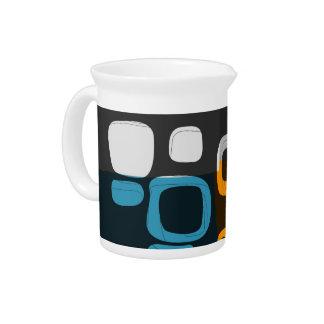 Blue, Orange, Grey Retro Abstract Art Beverage Pitcher