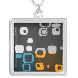 Blue, Orange, Grey Retro Abstract Art Necklace