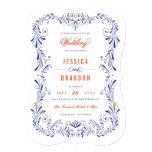 Blue Orange Hand-Drawn Foliage Wedding Invitation Custom Announcement
