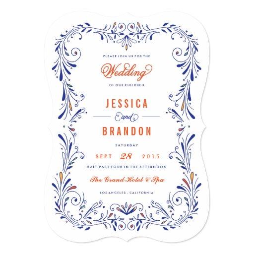 Blue Orange Hand Drawn Foliage Wedding Invitation
