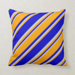[ Thumbnail: Blue, Orange & Light Gray Pattern Throw Pillow ]
