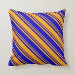 [ Thumbnail: Blue & Orange Lined Pattern Throw Pillow ]