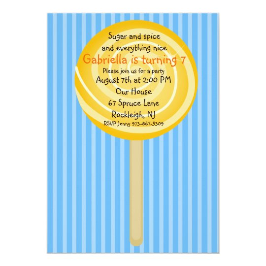 Blue & Orange Lollipop Girls Birthday Invitation