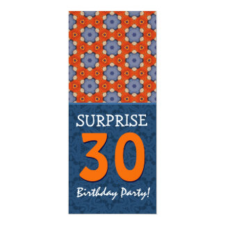 Blue Orange Modern 30th Surprise Birthday Party V6 Card
