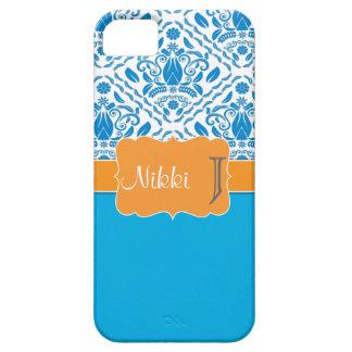 Blue & Orange monogrammed damask iPhone 5 case