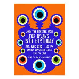 Blue Orange Monster Eyes Birthday Party Invitation