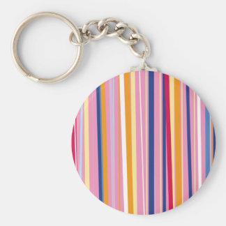 Blue Orange on Pink Stripes Keychain