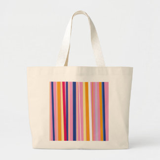 Blue Orange on Pink Stripes Large Tote Bag