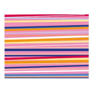 Blue Orange on Pink Stripes Postcard