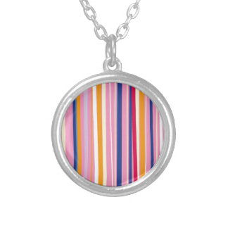 Blue Orange on Pink Stripes Silver Plated Necklace