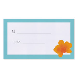Blue & Orange Orchid Wedding Placecard Double-Sided Standard Business Cards (Pack Of 100)