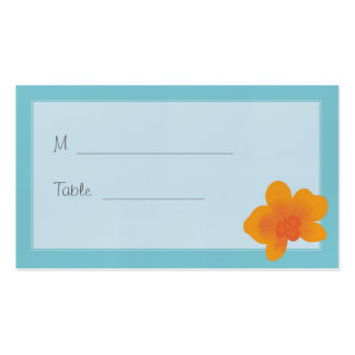 Blue & Orange Orchid Whimsical Placecard Double-Sided Standard Business Cards (Pack Of 100)