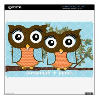 Blue & Orange Owls Personalized MacBook Air Skin