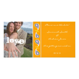 Blue & Orange Paisley Save the Date  Your Photo Photo Card