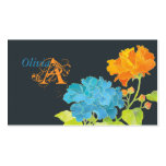 Blue & Orange Peonies with Damask Pattern Monogram Double-Sided Standard Business Cards (Pack Of 100)