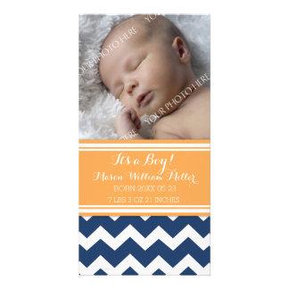 Blue Orange Photo New Baby Birth Announcement Photo Card