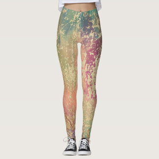 Blue, Orange, Pink, Purple, Cream Marble Design Leggings
