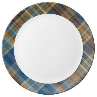 Blue orange plaid porcelain plate