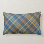 Blue orange plaid pillow