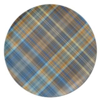 Blue orange plaid dinner plates