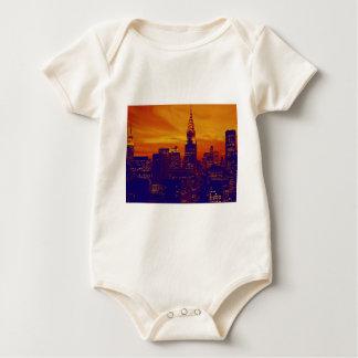 Blue Orange Pop Art New York City Baby Creeper