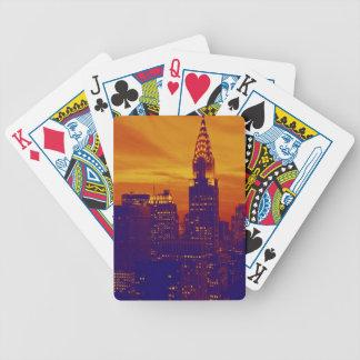 Blue Orange Pop Art New York City Bicycle Playing Cards