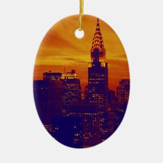 Blue Orange Pop Art New York City Ceramic Ornament