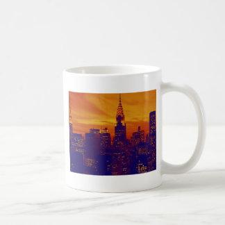 Blue Orange Pop Art New York City Coffee Mug