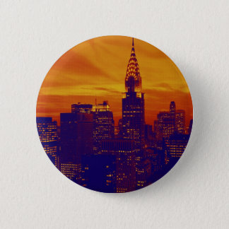 Blue Orange Pop Art New York City Pinback Button
