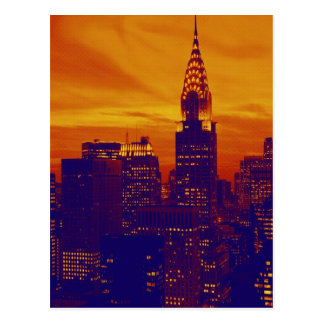 Blue Orange Pop Art New York City Postcard