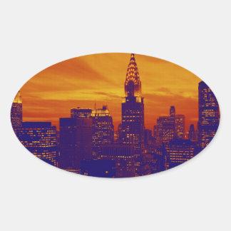 Blue Orange Pop Art New York City Oval Stickers
