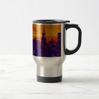 Blue Orange Pop Art New York City Travel Mug