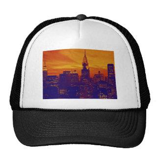 Blue Orange Pop Art New York City Trucker Hat