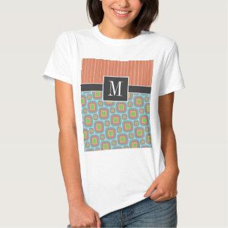 Blue & Orange Retro Pattern T-shirts
